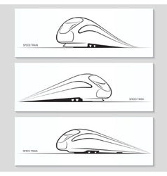 Set of modern speed train silhouettes and contours vector