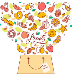 shopping basket with fruit in the vector image