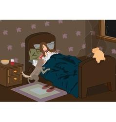 sick sleeping girl vector image