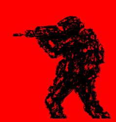 silhouette of soldier aiming from machine gun vector image