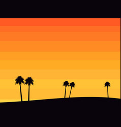 Silhouettes of palm trees on a sunset background vector