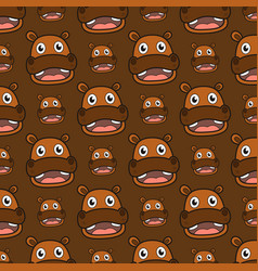 Smile hippo seamless pattern vector