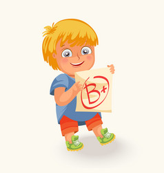 smiling boy with test paper mark vector image