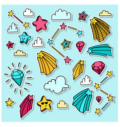 Stars clouds and brilliants set with hand drawn vector