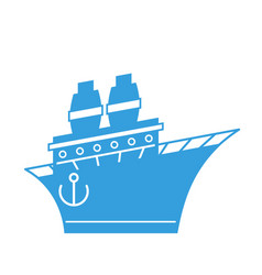 steamboat cartoon style ship blue boat vector image