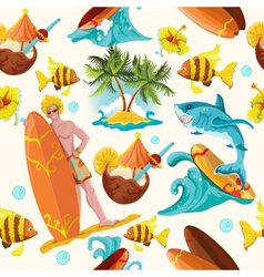 Surfing seamless background vector image