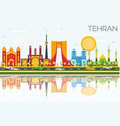 Tehran skyline with color landmarks blue sky and vector