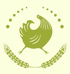 the emblem is a running cock vector image