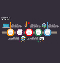 Timeline infographic chart with many color design vector
