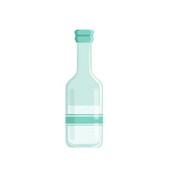 Transparent bottle of vinegar with sticker vector