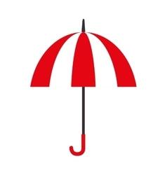 Umbrella open striped red icon vector