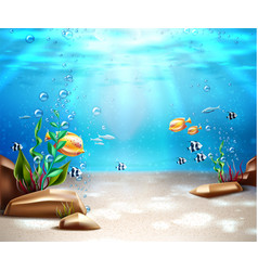 Underwater life sea bottom scene background vector