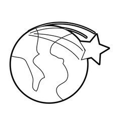 universe planet earth star space cartoon vector image