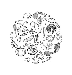 Vegetable Doodle Set vector image