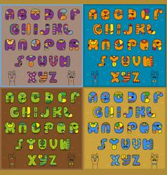 Vintage artistic alphabets vector