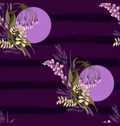 Violet trendy seamless pattern of wild flowers vector