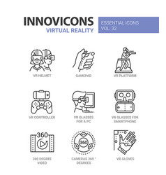 virtual reality - modern line icons set vector image