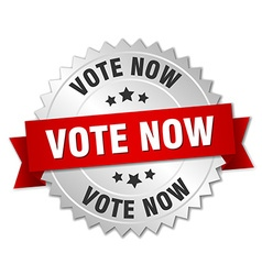 Vote now 3d silver badge with red ribbon vector