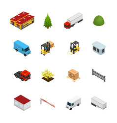 warehouse icon set 3d isometric view vector image