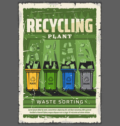 wastes sorting and recycling ecology conservation vector image