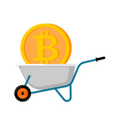 wheelbarrow and bitcoin cryptocurrency in garden vector image
