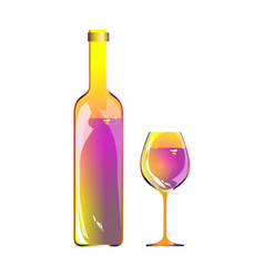 Wine bottle glass and bright content abstract vector