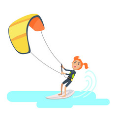 Woman takes part at kite surfing spain festival vector