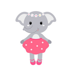 a cute funny elephant girl in a vector image vector image