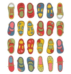 Cute girls shoes collection vector