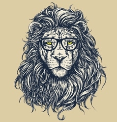 Hipster lion vector