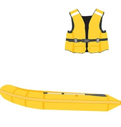 Inflatable boat and life vest vector image