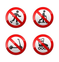 set prohibited signs - scooter inline skates vector image vector image
