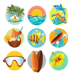 Surfing icons set vector image