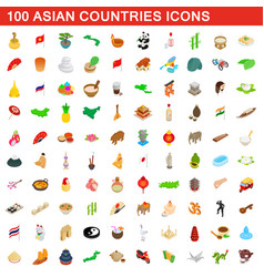 100 asian countries icons set isometric 3d style vector image vector image