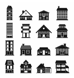 Houses black simple icons set vector image vector image