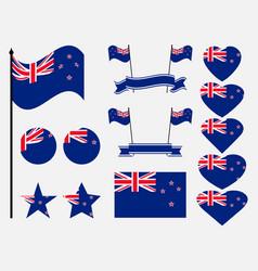 new zealand flag set collection of symbols flag vector image
