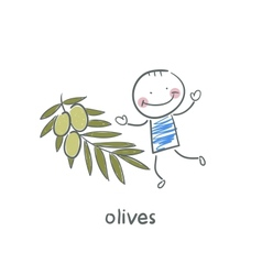 Olives and people vector image