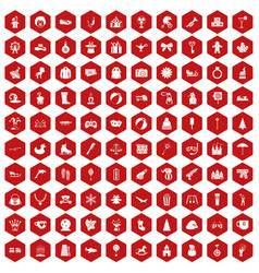 100 children icons hexagon red vector image vector image