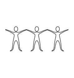 figure people with hands up icon vector image vector image