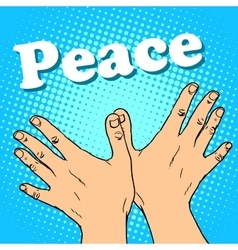 hand gesture dove of peace vector image vector image