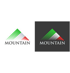 italian flag in logo of mountains vector image