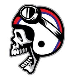 skull wearing old style of motorcycle helmet vector image vector image