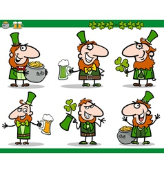 st patrick day themes set cartoon vector image