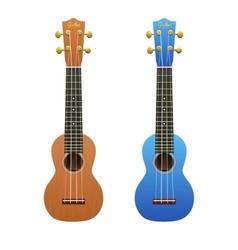 Two realistic ukuleles isolated on white vector image