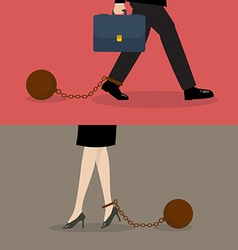 Business man and business woman with weight burden vector image vector image