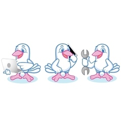 Dove Mascot with laptop vector image