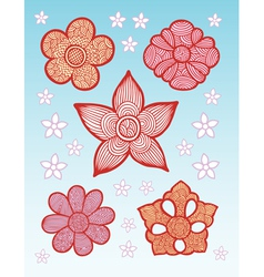 Flowers Line Pattern Decoration vector image vector image