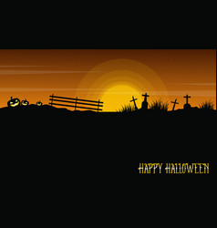 halloween with grave and pumpkin landscape vector image