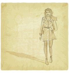 pretty girl on grunge background vector image