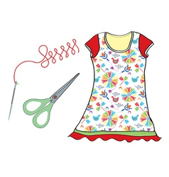 Sewing set with needle scissors and dress vector image vector image